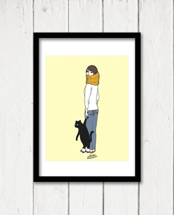 Cat On Roller Skates Drawing, Cute Kitten Yellow Pop Art Print