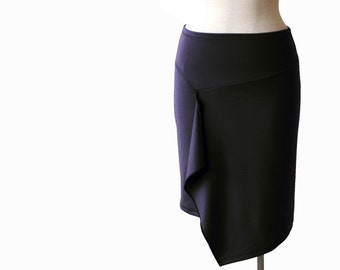 Black skirt. Pencil knee length skirt. Jersey skirt. Women's skirt.