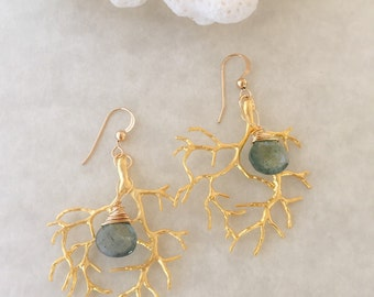 Gold Coral and Moss Aquamarine Earrings