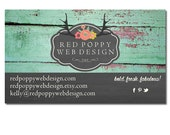 Premade Business Card Design, Digital Business Cards, Vintage Wood and Chalkboard, Flowers, Antlers, Green Aqua, Gray, Black, Pink, Yellow