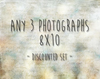 Choose any 3 8x10 photographs - 20% off - custom print set - any three 8x10 pictures