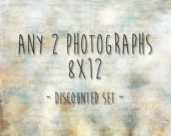 Choose any 2 8x12 photographs - 20% off - custom print set - any two 8x12 pictures