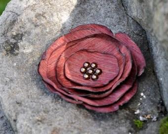 Burgundy Fabric Flower Brooch - Handmade Flower Brooch