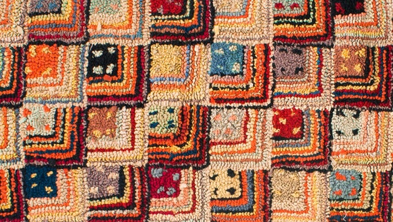 Vintage Hand Hooked Rug: Folk Art Rag Rug, Log Cabin, Wool Area Carpet