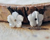 10pcs White MOP Shell Flowers 8mm, Carved Mother of Pearl Flowers , Center Drill for Earrings - (V1194)