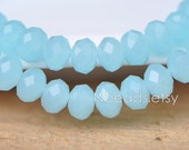 Rondelle Crystal Glass Faceted beads 6x8mm Sky Blue- (BZ08-96)/ 70pcs