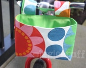 "LAST ONE -- ""Flower Power"" Girls Handlebar Basket, Cycling Bag, Green Interior"