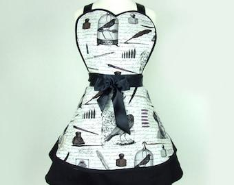 Edgar Allen Poe Inspired Two Skirt Apron / Black and white