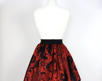 Red and Black  Pleated Steampunk  Inspired Skirt with Spiders, Skulls, Feather, Crows