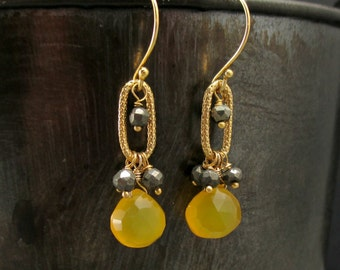 Yellow Chalcedony Pyrite Earrings, Mustard Yellow, Gold Chalcedony Earrings, Gold Wire Wrapped Dangle, Yellow Gold Hoop, Iron Pyrite