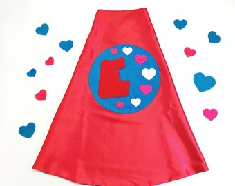 RED and TURQUOISE HEART Girl Superhero Cape - Personalized for dress-up and pretend play -  with your Cape