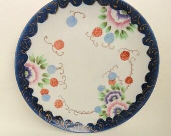 12 inch Vintage Hand Painted Platter Artist Signed, Cobalt Rim// Vintage China Serveware