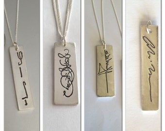 Handwriting Signature Pendant -Memorial Jewelry Your Lost Loved Ones Actual Signature or Message on a Vertical Pendant Made to order