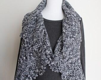 Crochet Black White Gray Silver Metallic Vest or Sweater