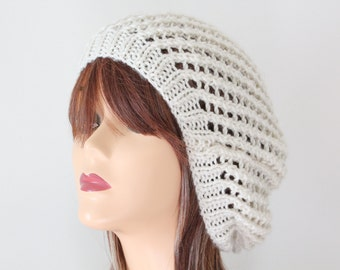 Knit Hat Ivory Slouchy  Beanie Hat