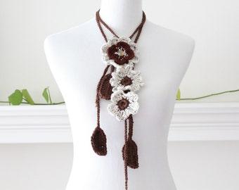 Crochet Lariat Brown Oatmeal Scarf, Scarflette, Necklace