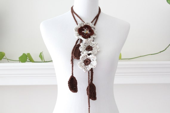 Crochet Lariat Brown Oatmeal Scarf, Scarflette, Necklace