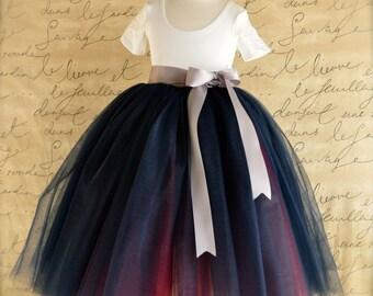 Custom Flower Girl tulle skirt tutu in your choice of colors for your wedding palette.