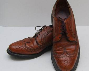 mens 1960s brown leather wingtop oxford shoes