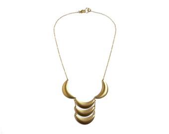 Bib Statement Necklace, Brass Crescent Necklace, Scalloped Necklace, Ladder Necklace