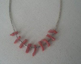 Vintage Silver Necklace with Nine Coral Beads