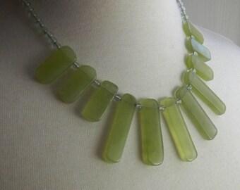 Green fan necklace, Jade and quartz semi precious gemstone necklace - A gemstone bib necklace, handmade