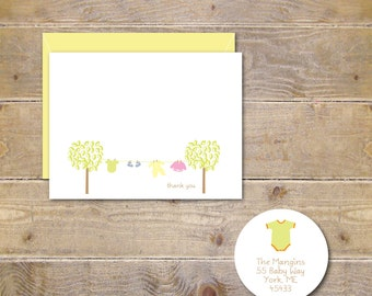 Baby Shower Thank You Cards, Baby Announcement Cards,  New Baby Cards, Baby Thank You Cards, Baby Boy, Baby Girl, Gender Neutral, Note Cards