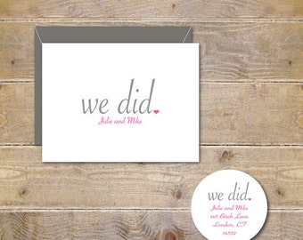 Bridal Shower, We Did, Thank You Cards, Wedding,  Thank You Cards, Wedding Thank You Cards, Affordable Wedding, Simple Wedding - Set of 100