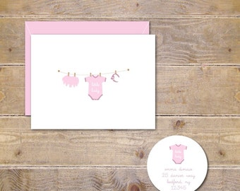 Baby Thank You Cards, Baby Girl Thank You Cards, Baby Shower Thank You Cards, Baby Announcements, Little One's Clothesline