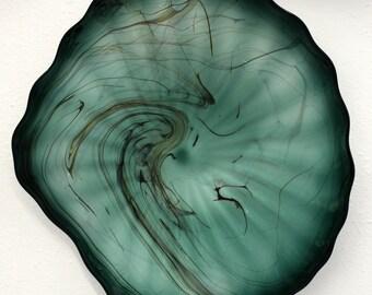 Beautiful Hand Blown Glass Art Wall Platter Bowl Marble Green 5496 ONEIL