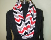 Chevron Stripe Infinity Minky Circle Scarf - Gray Black Red White -Fabric Scarf - Multicolor - Extremely Soft  - Cowl Scarf