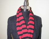 Red Black Silver Rugby Stripe Jersey Infinity Scarf - Fabric Scarf - Athletic Scarf - Circle - Cowl - Fashion Scarf - Teen Girl or Women