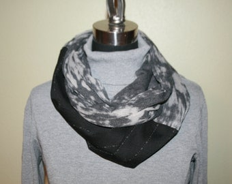 Boho Abstract Infinity Scarf mixes tie dye t shirt knit with striped menswear abstract fabric