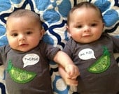 "Twin bodysuits ""Two Peas in a Pod"", Twin set of onesies, great baby shower gift for twins"