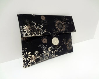 Ready to ship - Black Floral Makeup Bag