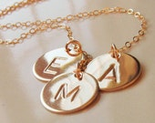 Gold Initial Disc Necklace, Choose up to 5 Discs, Hand Stamped Initials, 14kt Gold Filled Discs, All Hand Stamped