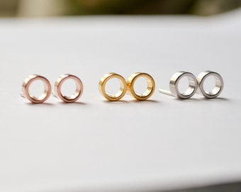 Tiny Open Circle Stud Earrings - Small Everyday Gold or Rose Gold Studs - Open Hoop Faux Gauge Earings - Handmade by HookAndMatter Brooklyn