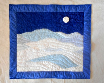 Quilted Wall Hanging - Winter Snow Scene in Blue and White