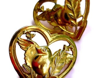 1940s Sterling CORO Love Birds Screw Back Earrings - Silver and Gold Wash Heart - Dove and Olive Branch - Vermeil Gold Wash