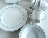 Corning Pyroceram Tableware Service Century Restaurant Green on White 35 pieces Service for 6