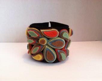 Shae's Sunset Ladies Jewelry boho mosaic wool wool felt cuff bracelet wearable art