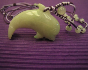 LOVELY DOLPHIN  ..  Natural Jade Necklace  ..  Handknotting Jewelry