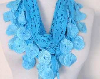 Blue Scarf -  birthday gifts -  women's accessory -  fashion scarf boho scarfs - Long Scarf - cotton scarf