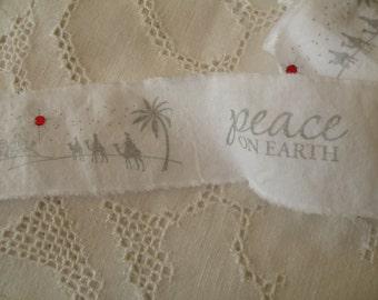 White Hand Stamped Christmas Ribbon with Rhinestones Shabby fabric Trim