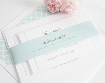 Mint Wedding Invitation - Mint, Script, Classic, Elegant Wedding Invitation - 1940's Design Wedding Invitations Sample Set