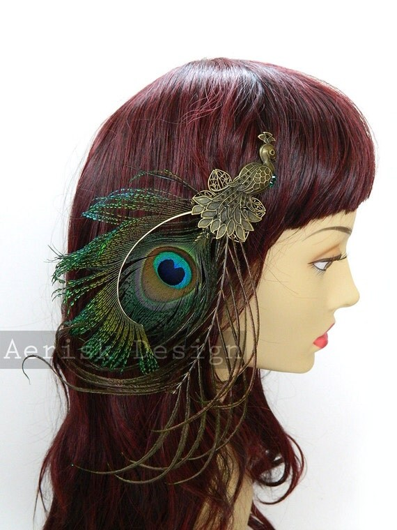 Natural Peacock feather fascinator with a vintage style peacock stamped brooch bronze hair clip - Ricci design -