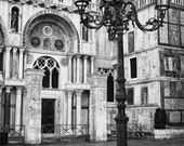 Fine Art Photography, lamppost outside St Marks, San Marco, Venice, Italy, black and white 8x12 shown