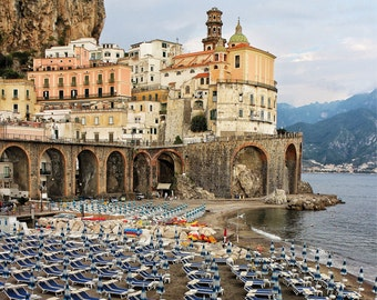 Fine Art Photography, Amalfi coast village, Atrani, beach chairs, ocean, 8x10, vintage, Italy