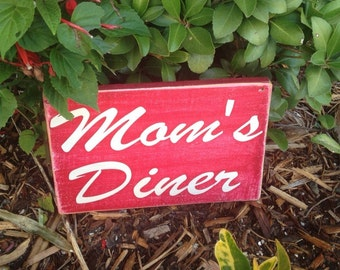 10x6 Mom's Diner (Choose Color) Custom Rustic Shabby Chic Wood Sign