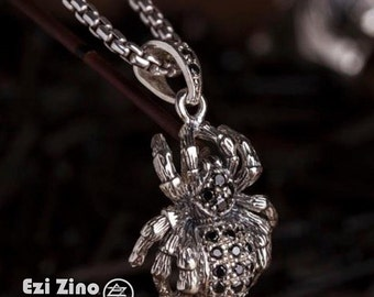 Original Ezi zino Tarantula Black Diamonds 0.50 ct  box chain necklace Pendant Handmade solid Sterling Silver 925